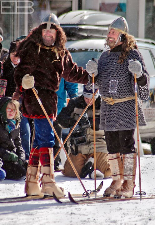These birch-legged warriors (or at least civilians disguised as such) are the heroes of the Birkebeiner legend, explained here.